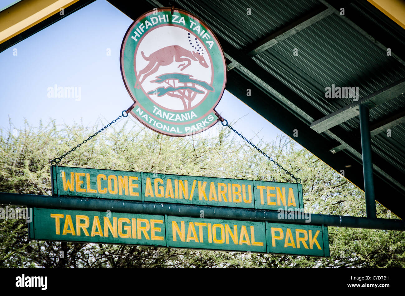 Sign overhead at the main entrance to Tarangire National Park in northern Tanzania. - Stock Image