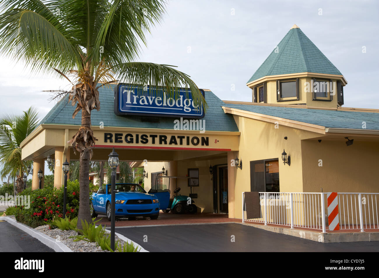 car in travelodge motel registration area homestead florida city usa - Stock Image