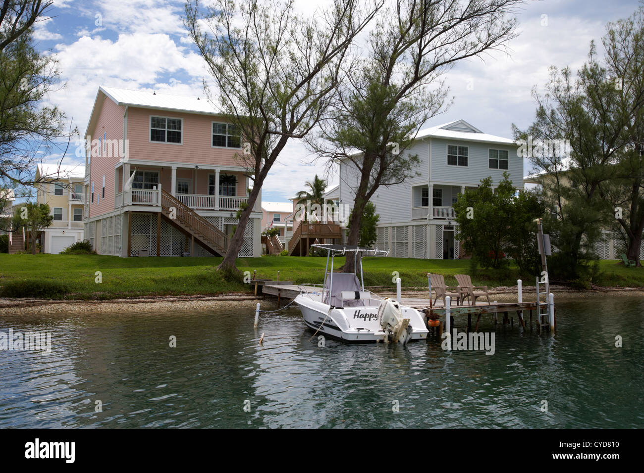 luxury home development with private jetty and boat garrison bight key west florida usa - Stock Image