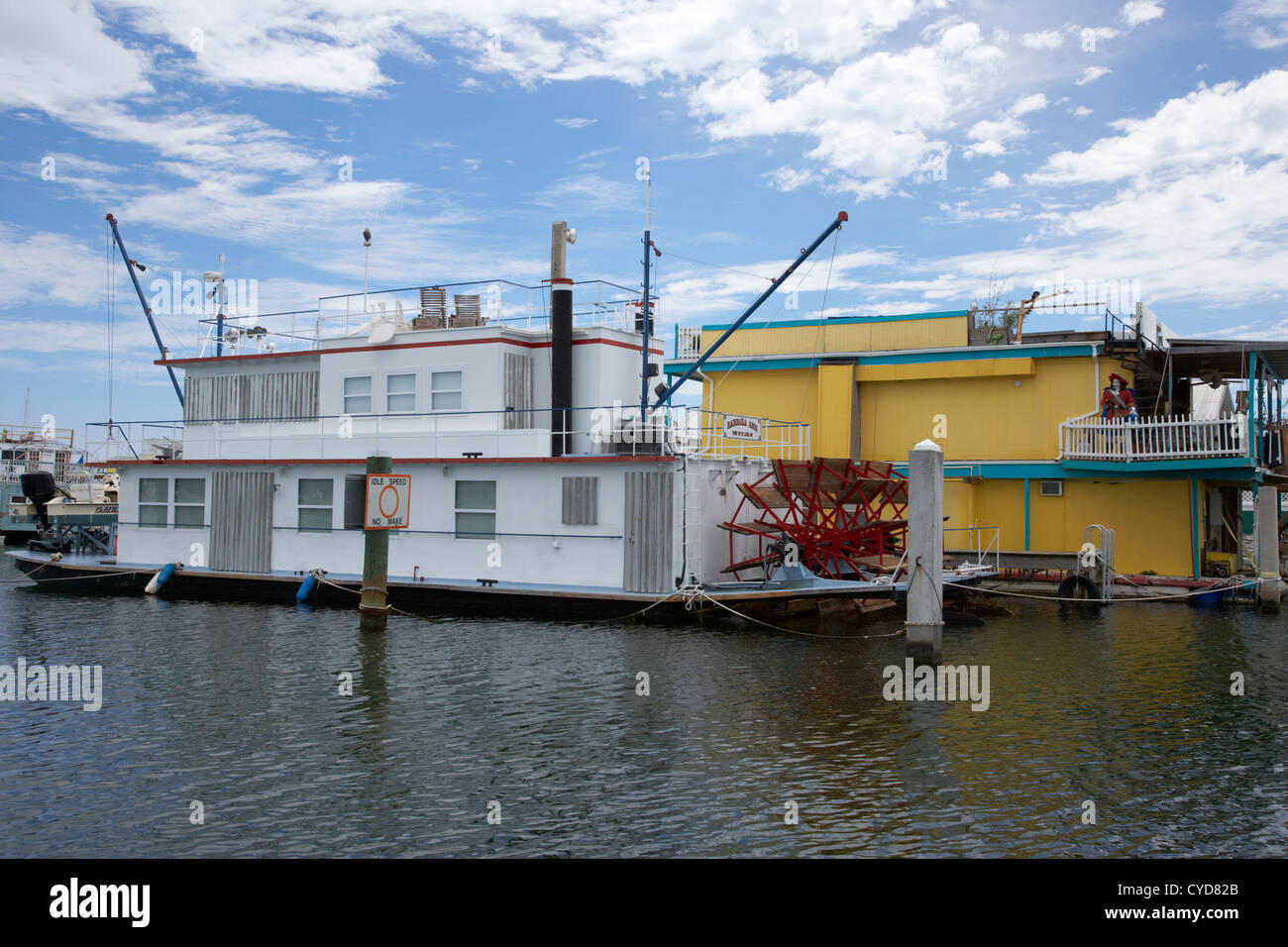 floating homes in the shape of a paddle steamer key west harbor florida usa - Stock Image
