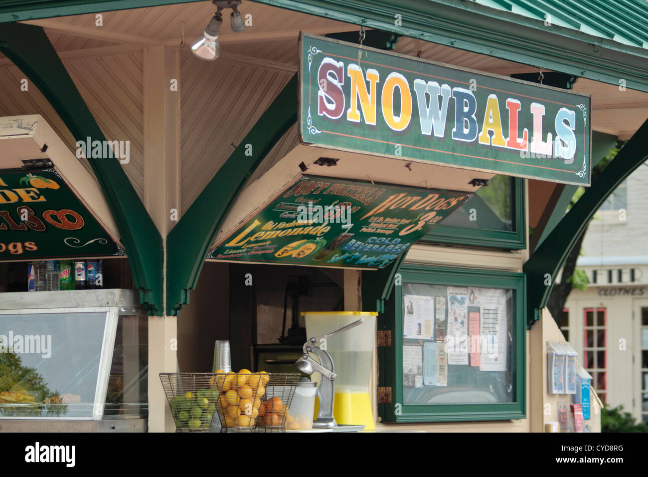 outdoor concession stand selling food drinks and snacks Baltimore, Maryland - Stock Image