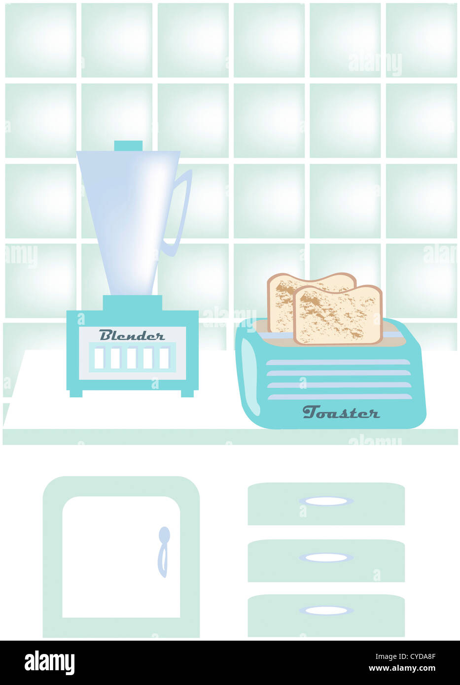 Illustrated 1950's Kitchen Appliances - Stock Image