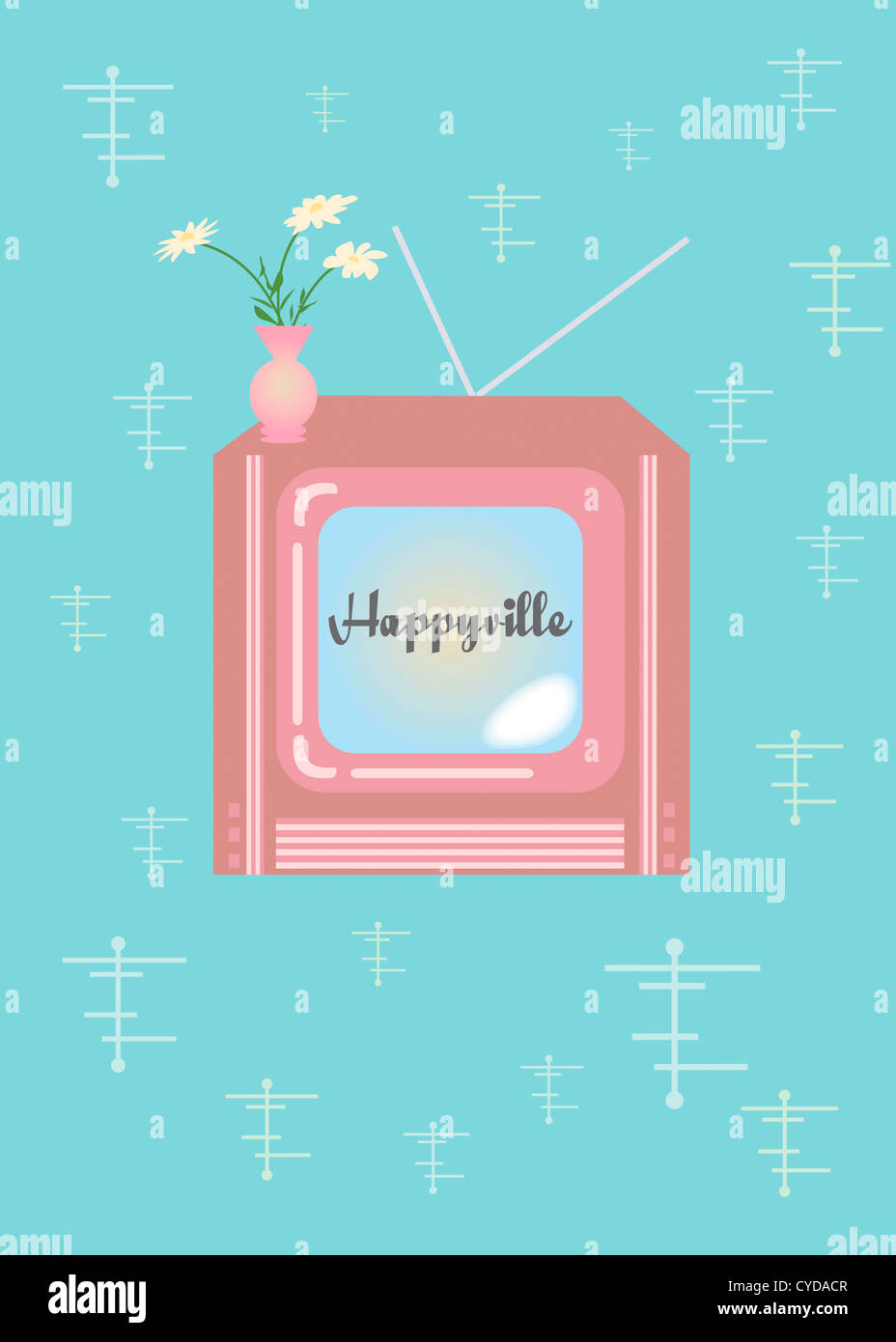 Retro Television Mid-Century Modern - Happyville - Stock Image