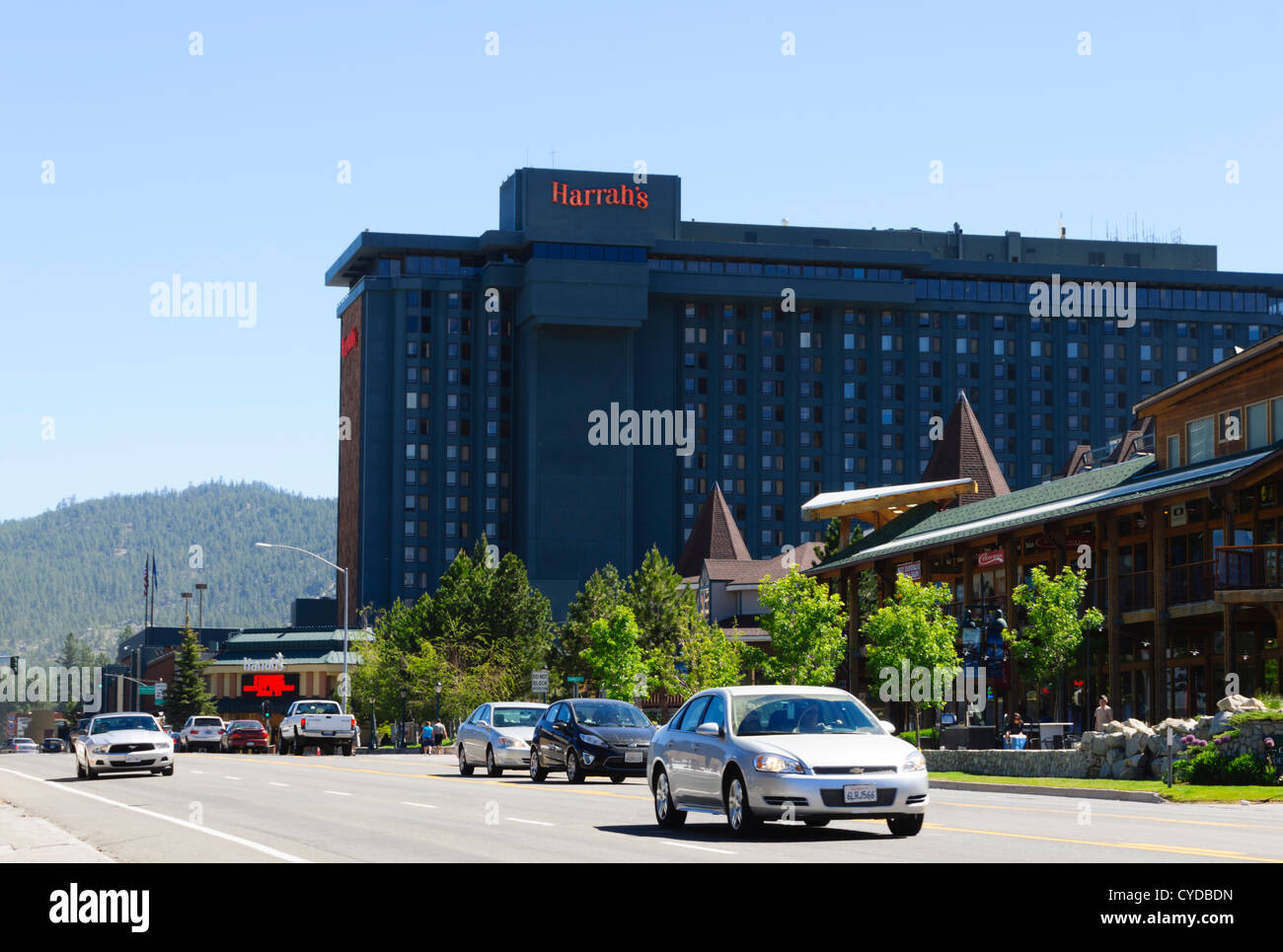 Lake Tahoe - South Lake Tahoe, Harrahs casino hotel over the stateline in Nevada. Stock Photo