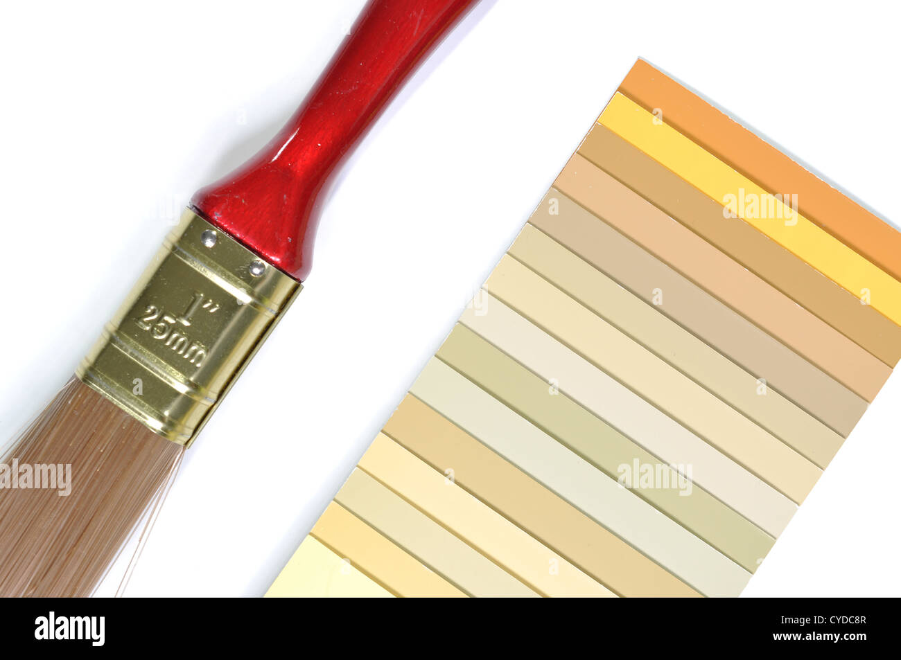 Sample colors catalog and paint brush - Stock Image