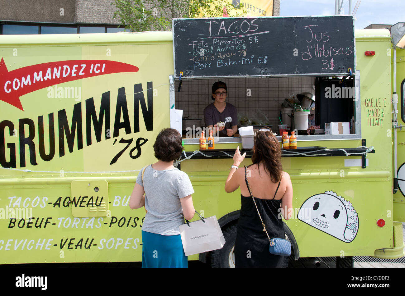 Food van in downtown Montreal Canada- they are gaining in popularity in the city - Stock Image