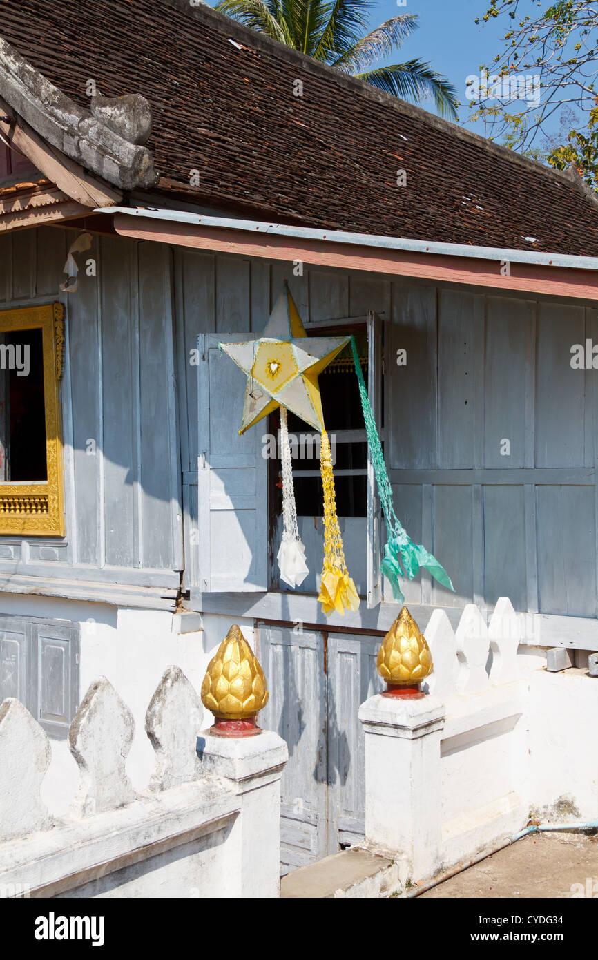 paper lanterns in the temple wat hosian voravihane in luang prabang