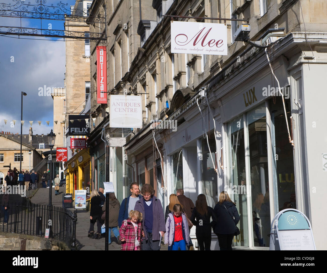 Shop signs Bartlett Street, Bath, Somerset, England - Stock Image