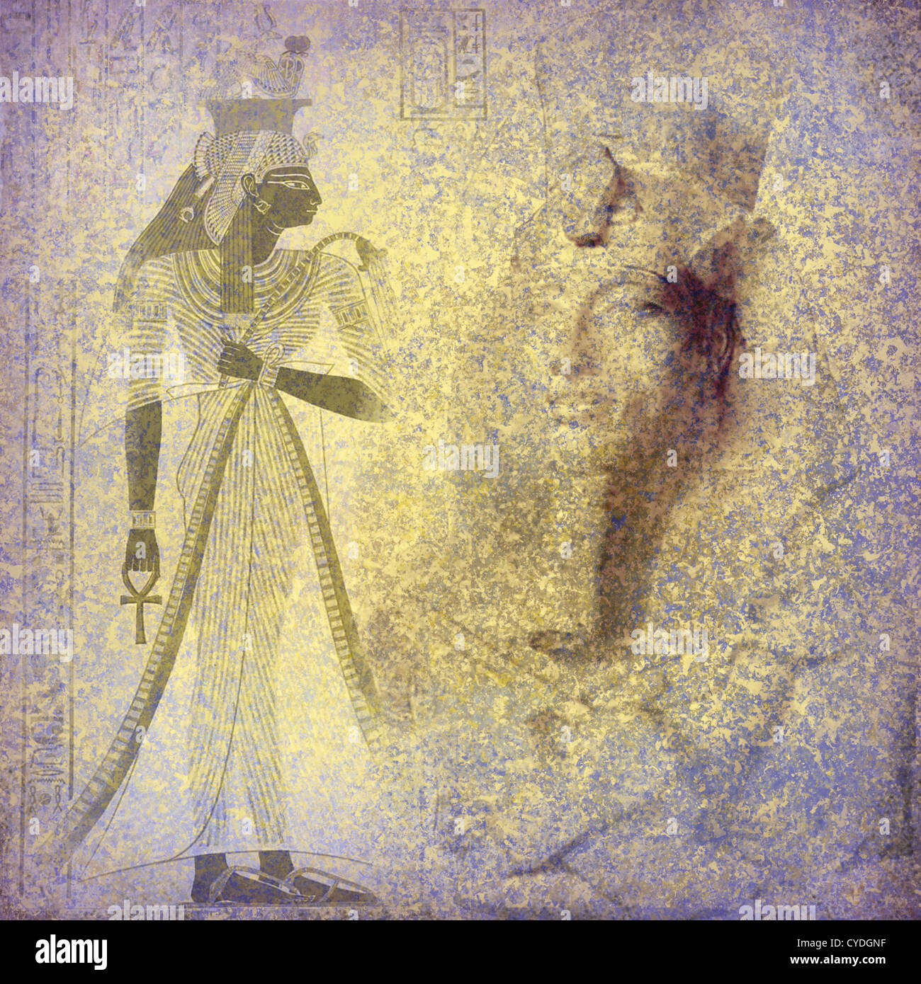 Ancient Egypt Wallpaper With Queen Nefertiti And Hieroglyphics