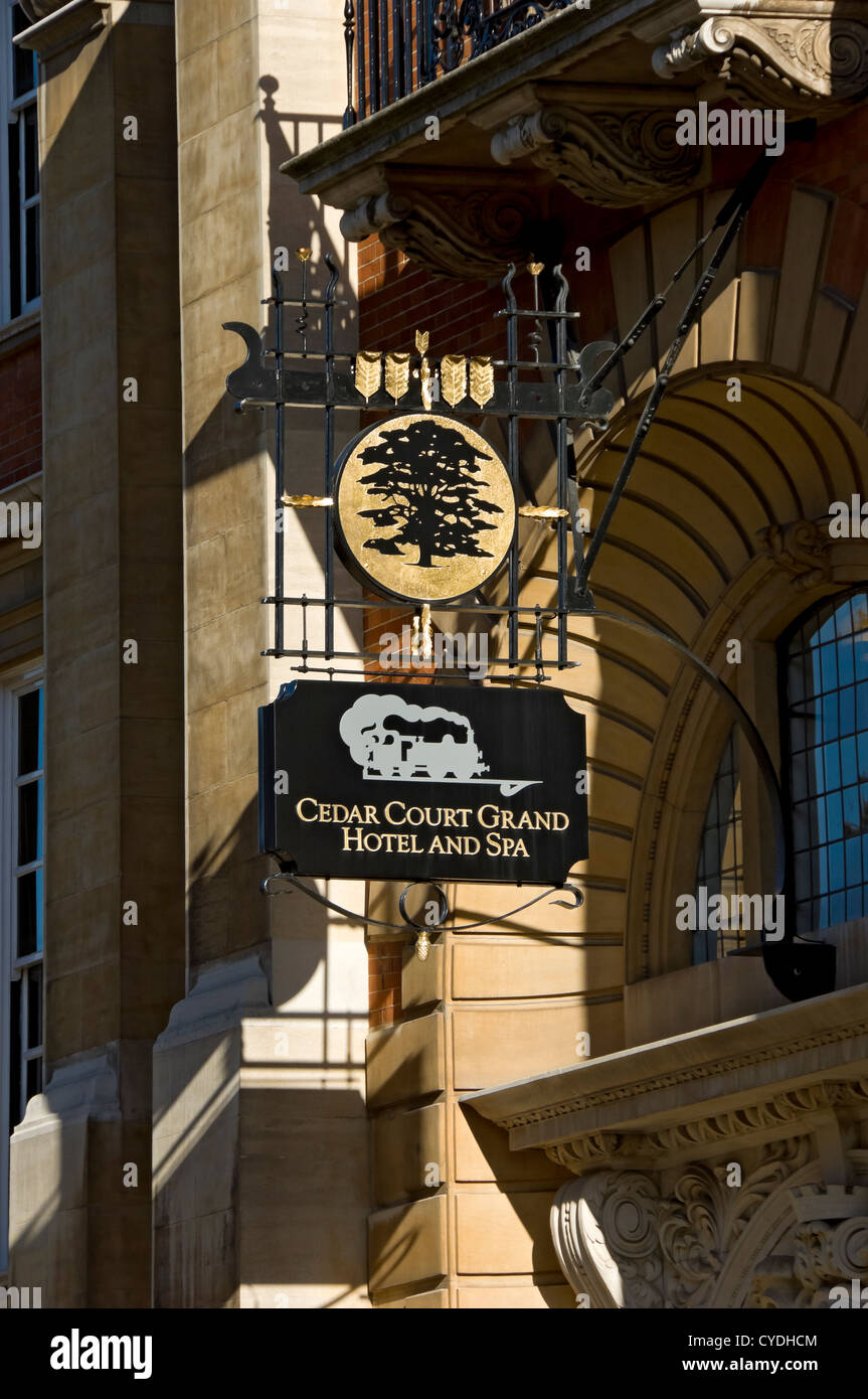 Cedar Court Grand Hotel and Spa sign York North Yorkshire England UK United Kingdom GB Great Britain - Stock Image
