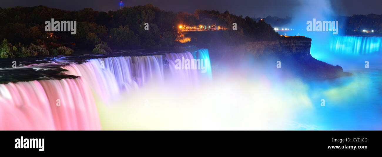 Niagara Falls lit at night panorama by colorful lights - Stock Image
