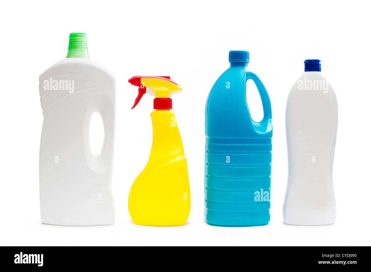 Plastic containers of cleaning products, isolated on white