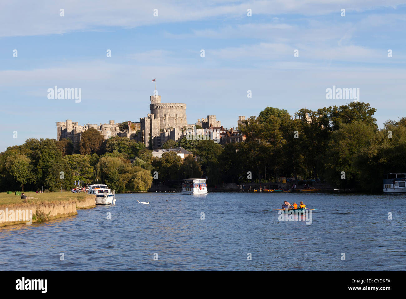Windsor Castle viewed from the River Thames, Windsor and Maidenhead, UK - Stock Image