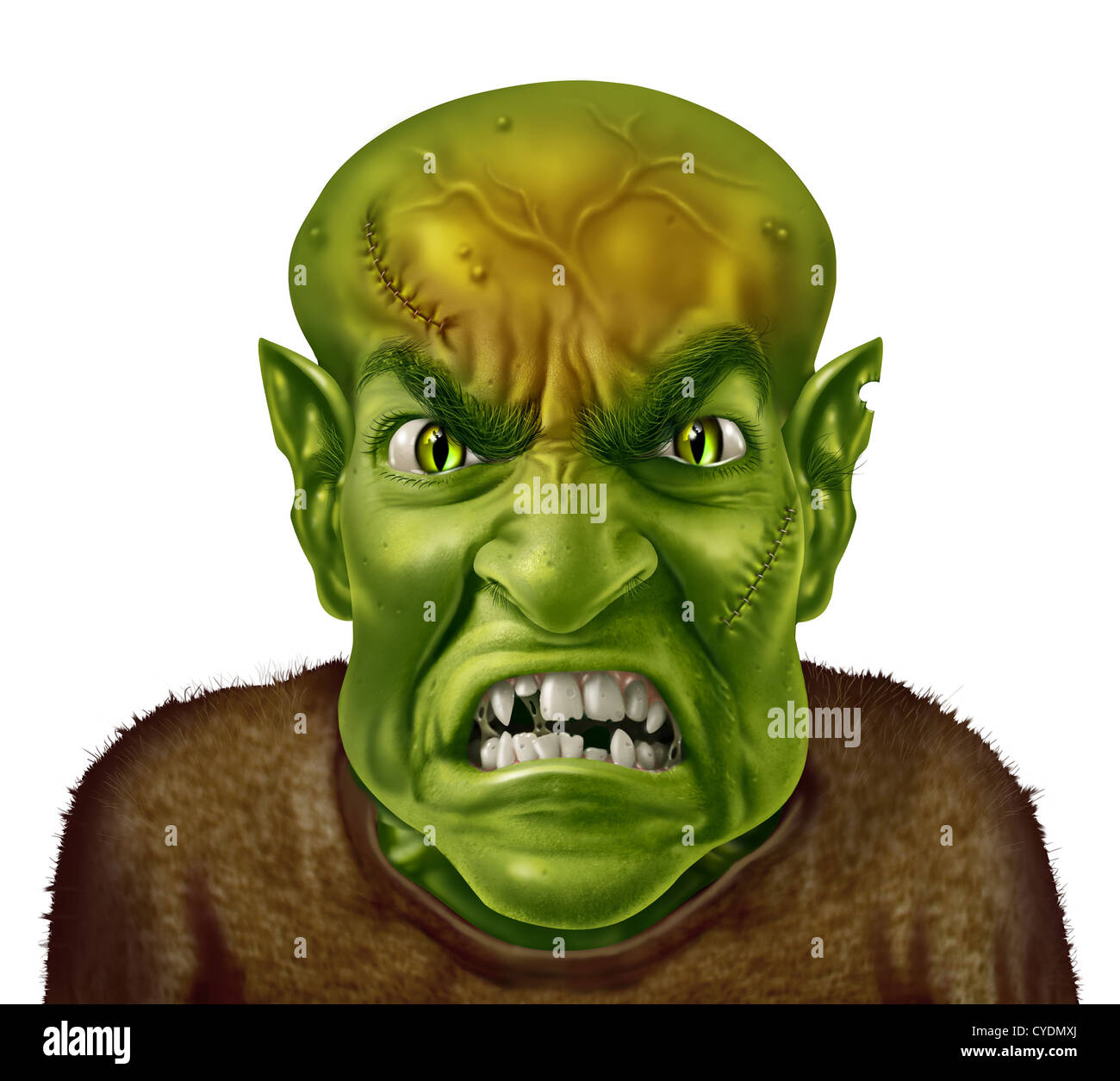Anger Management concept with a green monster face mad scientist type of character screaming with an angry human - Stock Image