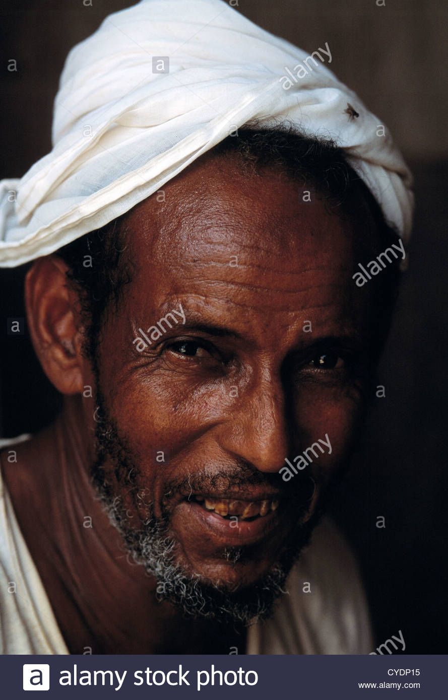 A portrait of a tobacco farmer near Al Ghuraf in Yemen. - Stock Image