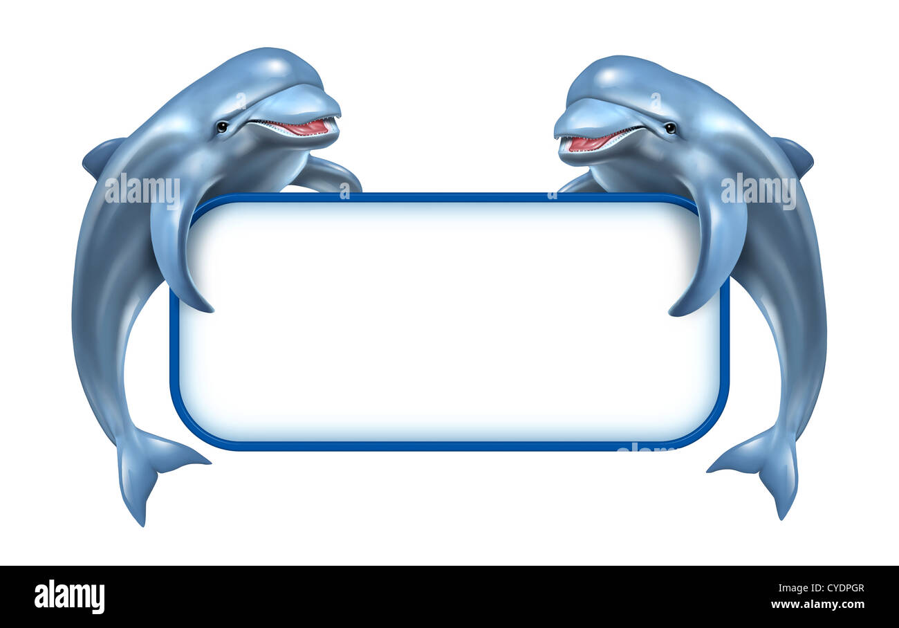 Marine Mammals Sign Stock Photos Images Anting Dolphin Crystal Two Happy Playful Jumping Dolphins Holding A White Blank As And Aquatic Related