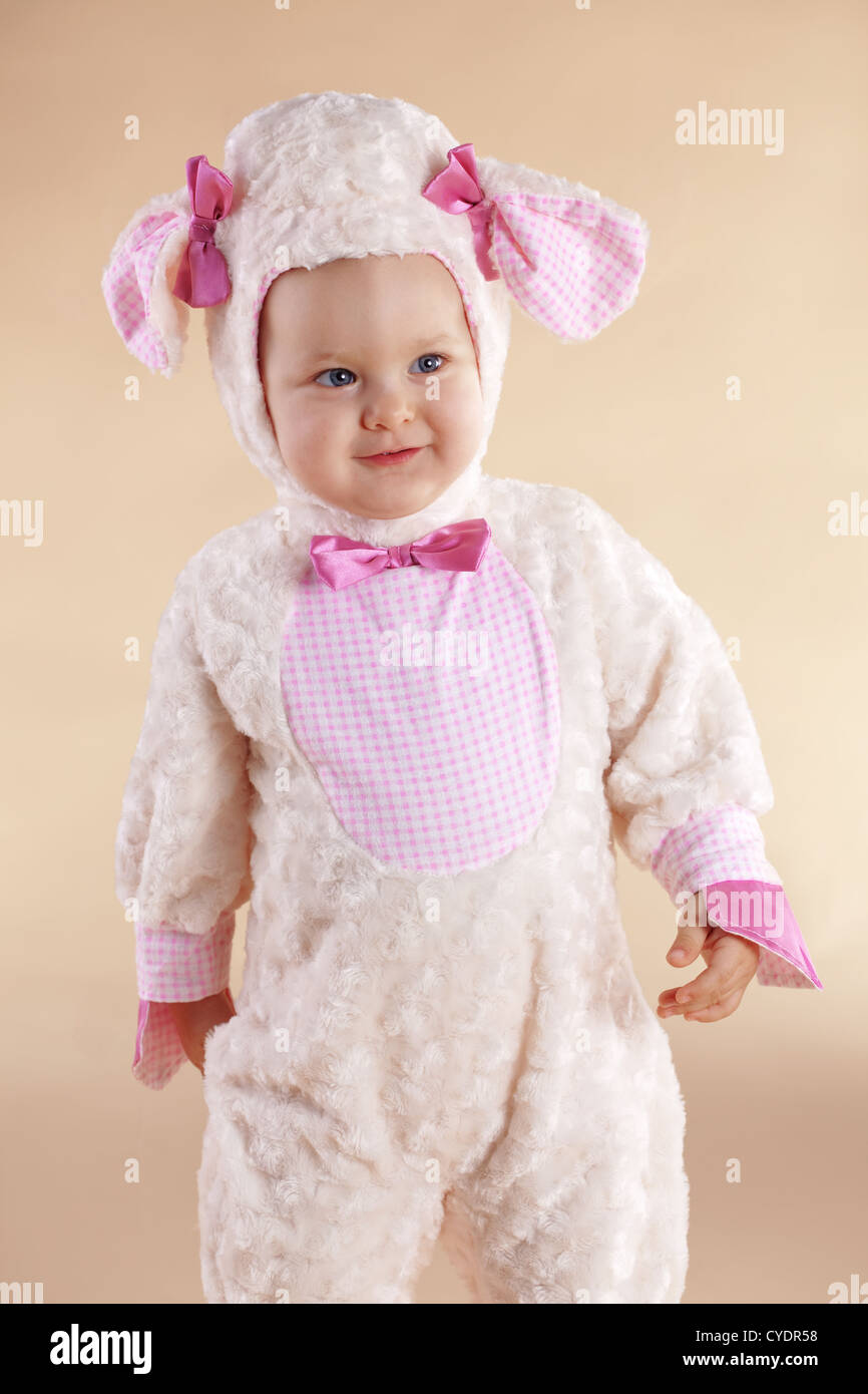 very cute baby wearing sheep costume stock photo: 51320004 - alamy