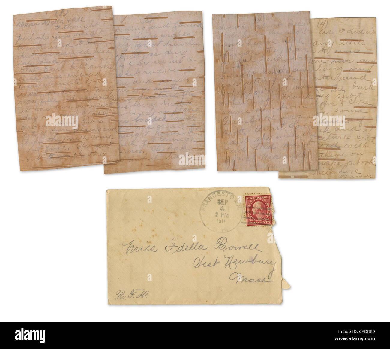 Postmarked 1911 letter on real birch bark paper, from Francestown, New Hampshire. - Stock Image