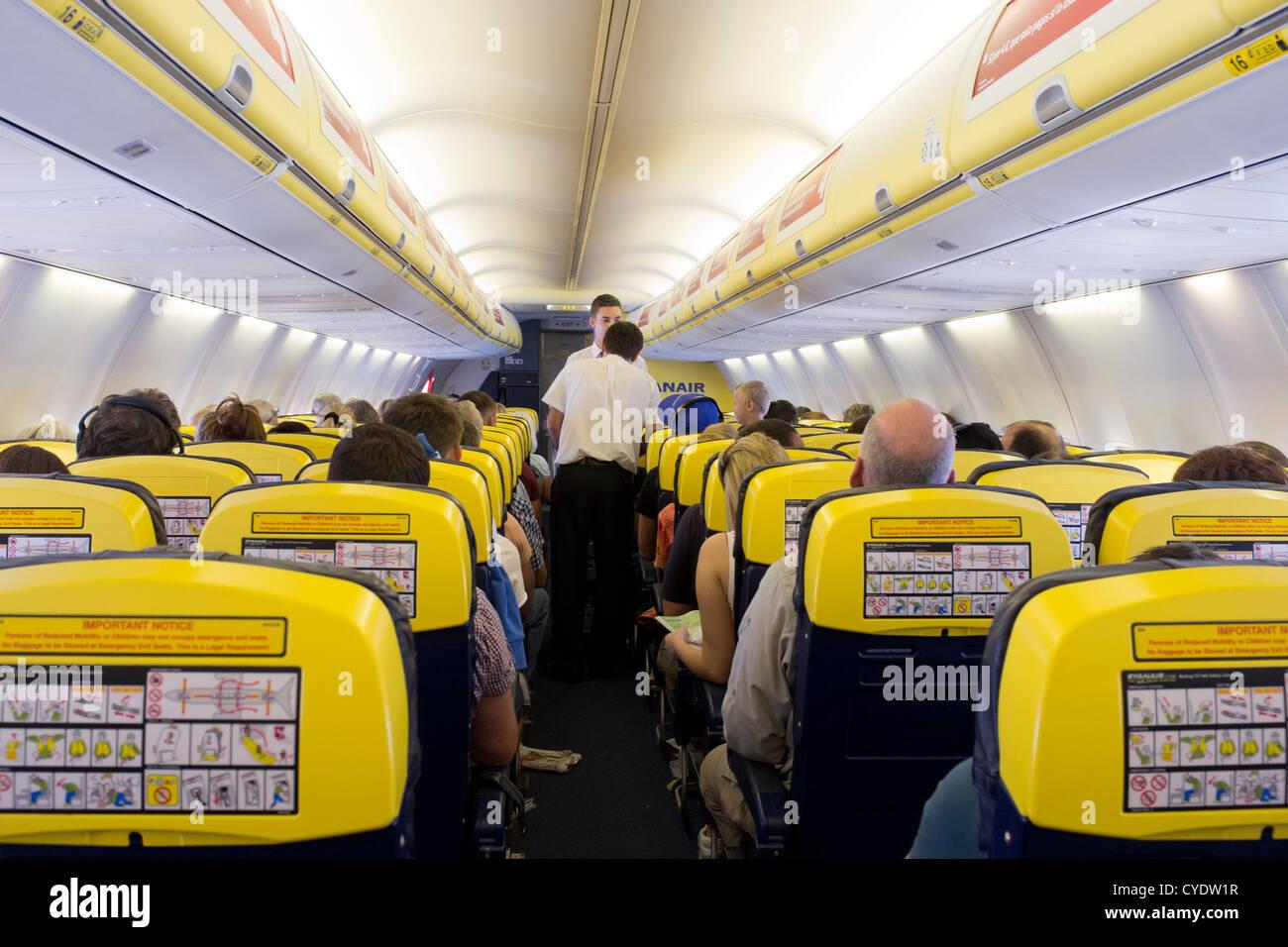 Ryanair plane cabin interior - Stock Image