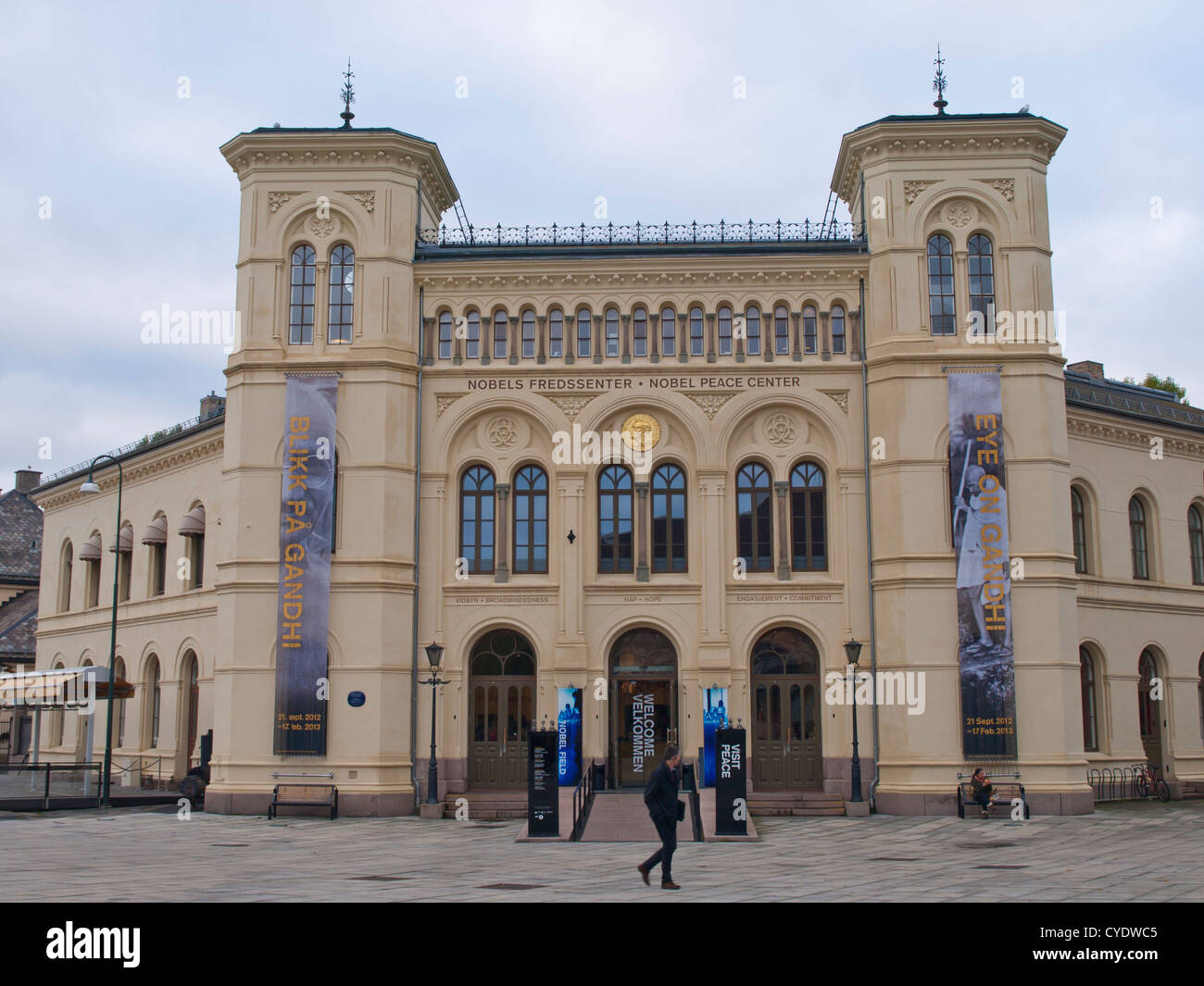 Nobel peace prize center in the Norwegian capital Oslo, has informative exhibitions about prize recipients and their - Stock Image
