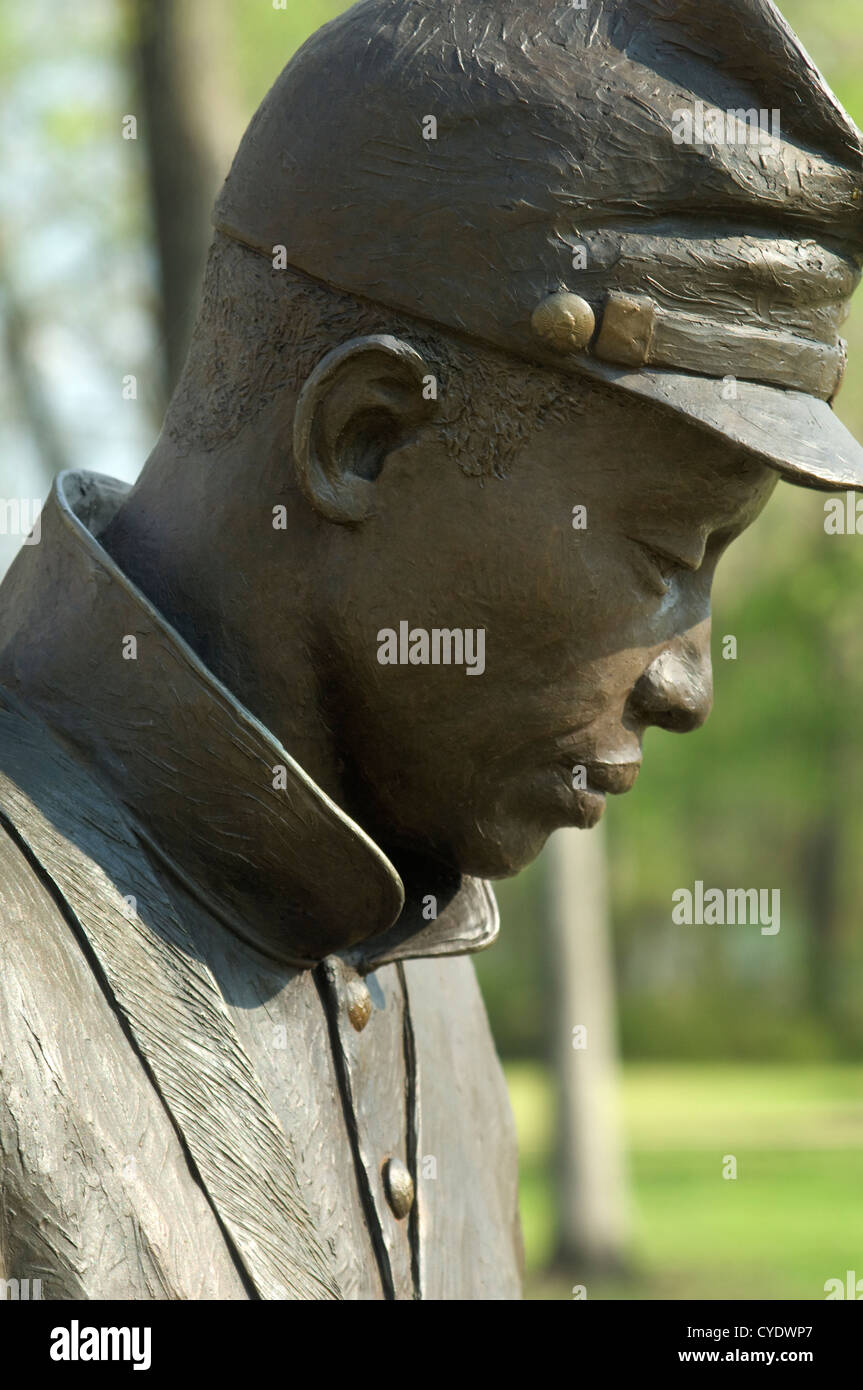 Statue of freed slave in 1st Alabama Colored Regiment at Union Army's Contraband Camp in Corinth Missippi, 1863. - Stock Image