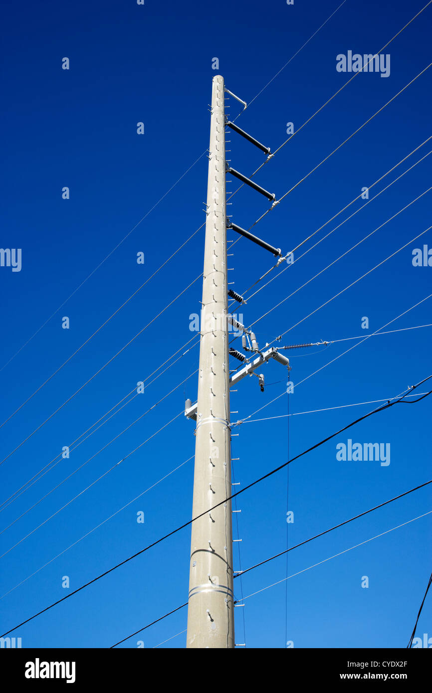 metal power electricity transmission pole florida keys usa - Stock Image