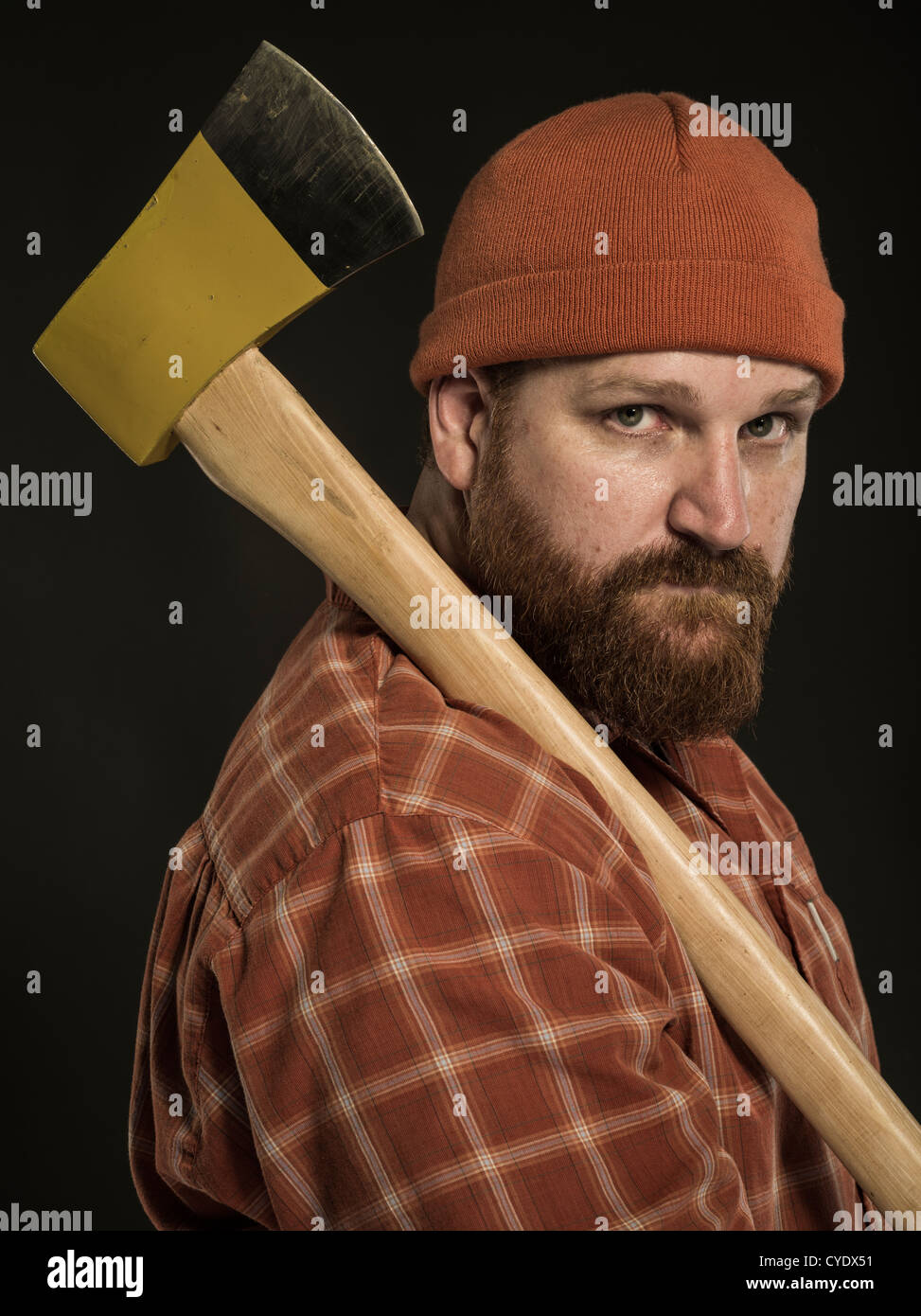 Woodcutter  / Lumberjack  with axe - Stock Image