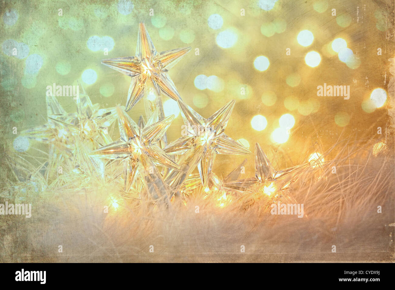 Vintage holiday lights with sparkle background - Stock Image
