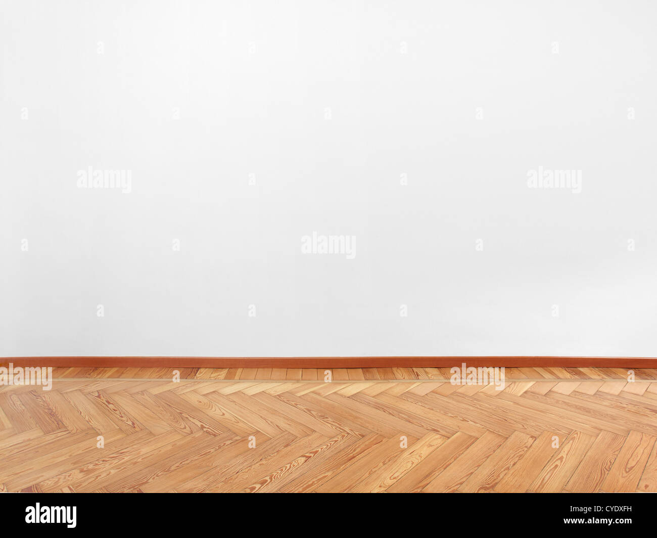 Parquet and empty white wall - Stock Image