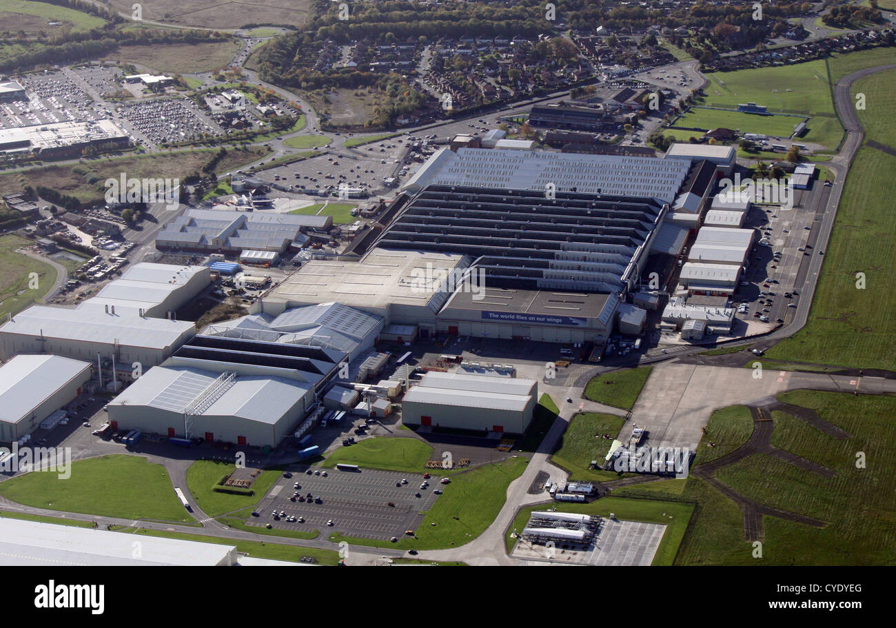 aerial view of British Aerospace factory at Hawarden Airfield near Chester in Cheshire - Stock Image