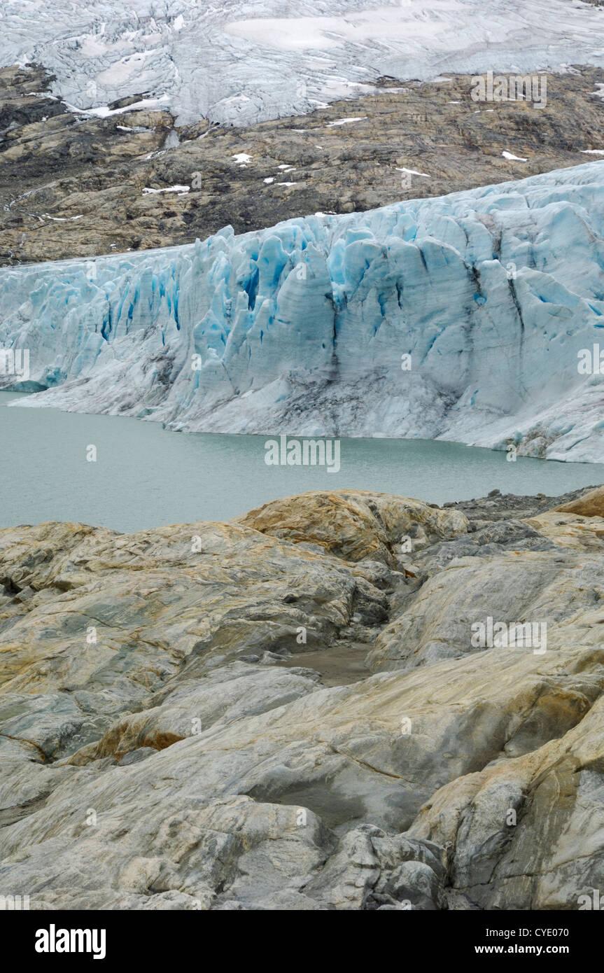 Austdalsbreen glacier, Styggevatnet lake, Jostedalsbreen icecap, Sogn og Fjordane, Norway - Stock Image