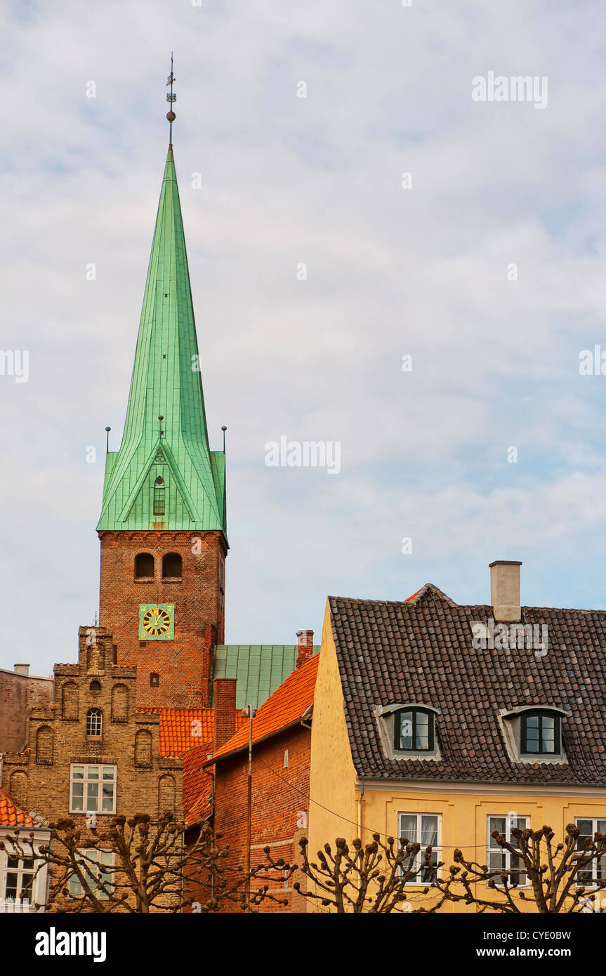 A view of the Danish town centre of Helsingor. - Stock Image