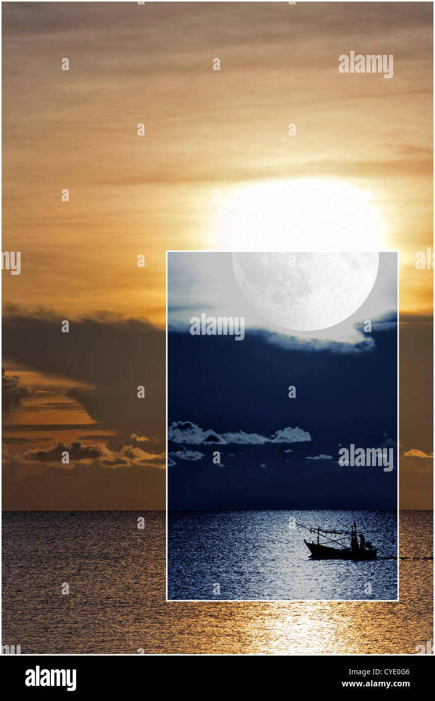 A conceptual image depicting both night and day of a fishing boat sailing on the open sea. - Stock Image