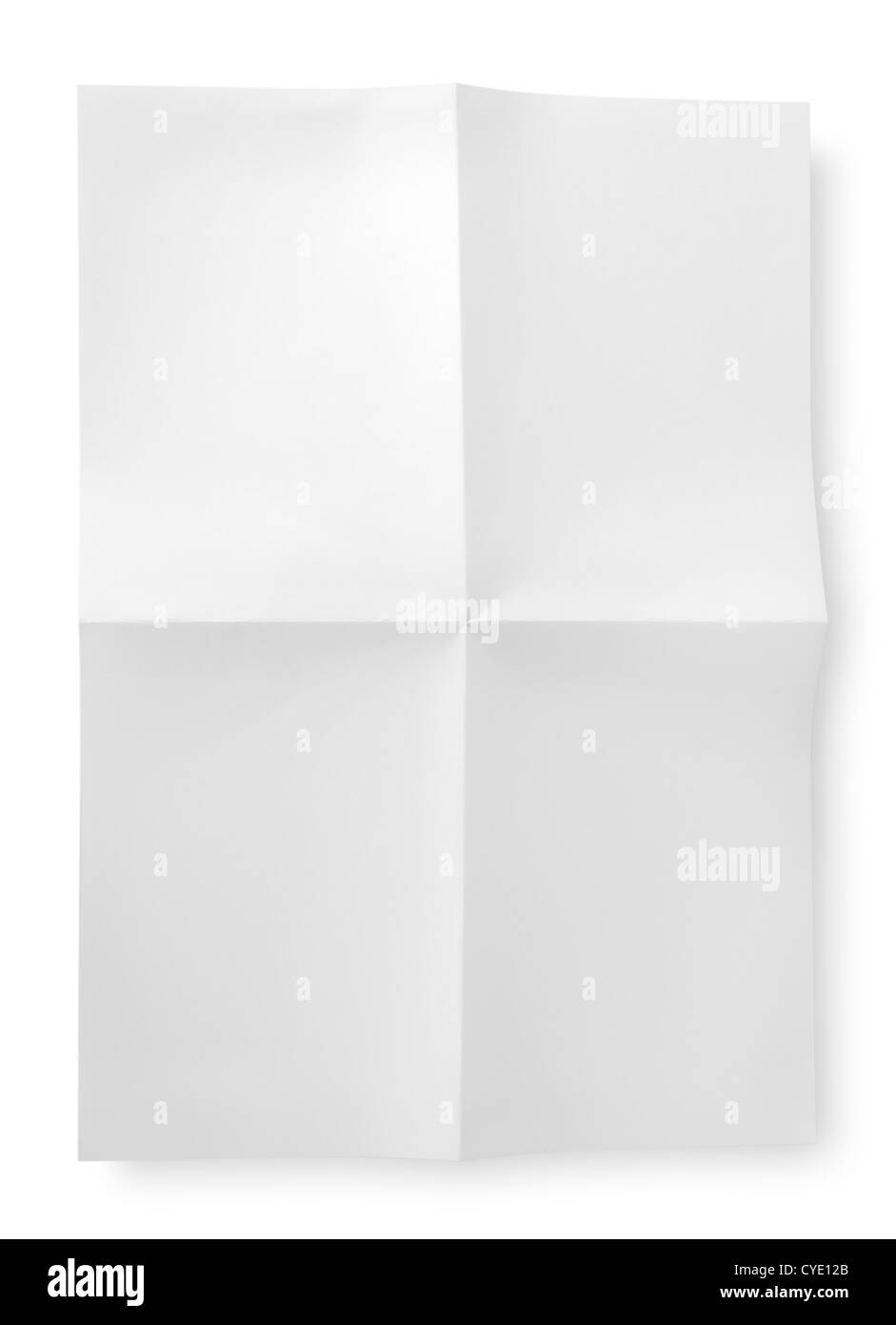 White sheet of paper isolated on white background - Stock Image