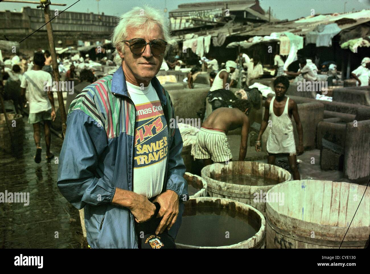 Jimmy Savile Sexual Abuse Scandal Sir Jimmy Savile, OBE pictured  in Mumbai, India in 1992. The disc jockey and Stock Photo