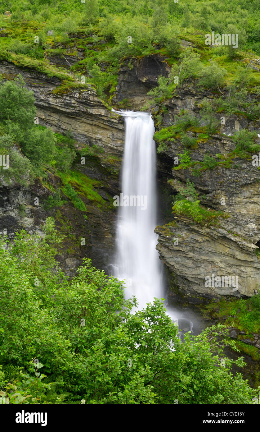 Storsaeterfossen waterfall, near Geiranger, More og Romsdal, Norway - Stock Image