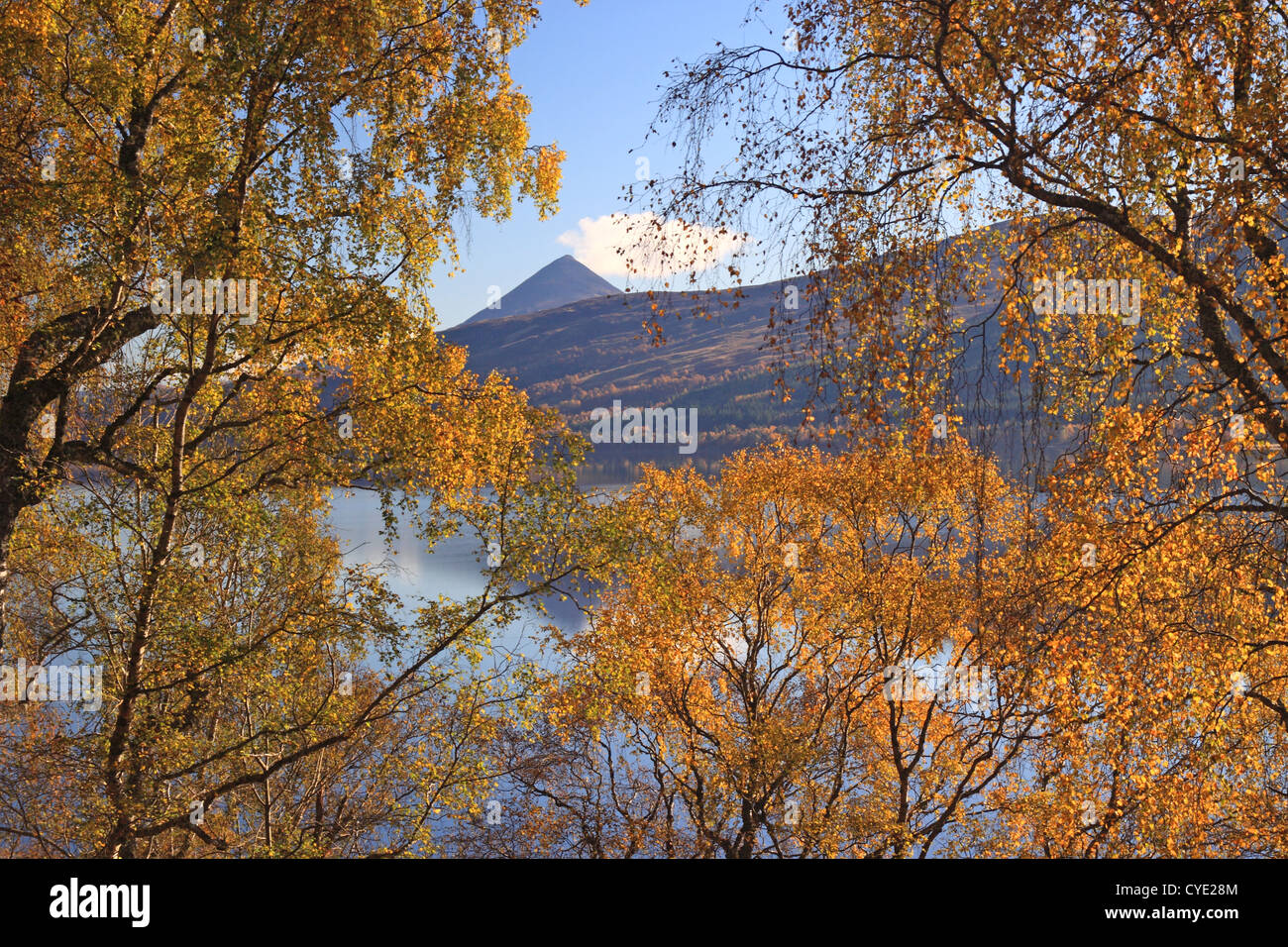 UK Scotland Tayside Perthshire Loch Rannoch and mountain of Schiehallion - Stock Image