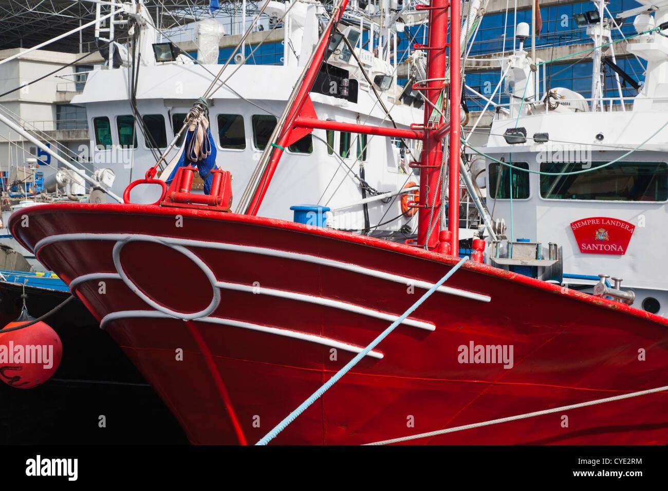 Spain, Cantabria Region, Cantabria Province, Santona, fishing fleet Stock Photo
