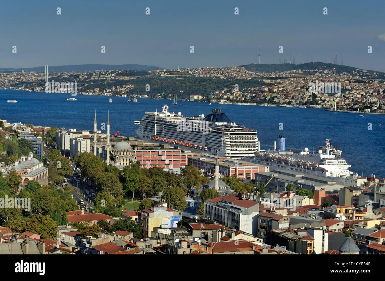 Bosphorus and Istanbul Cruise Port, Galata, Europe shore, Istanbul, Turkey - Stock Image