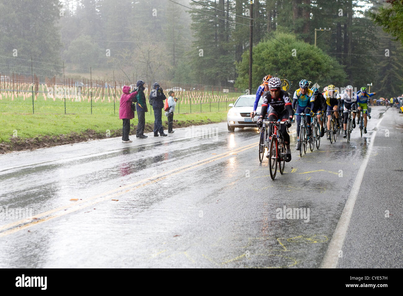 Lance Armstrong and his team charge up a hill during the AMGEN Tour of California competition. - Stock Image