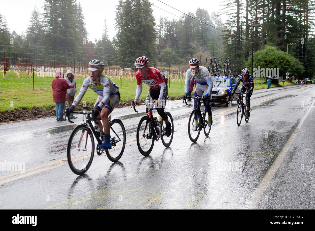 Cyclists at the Tour of California. - Stock Image