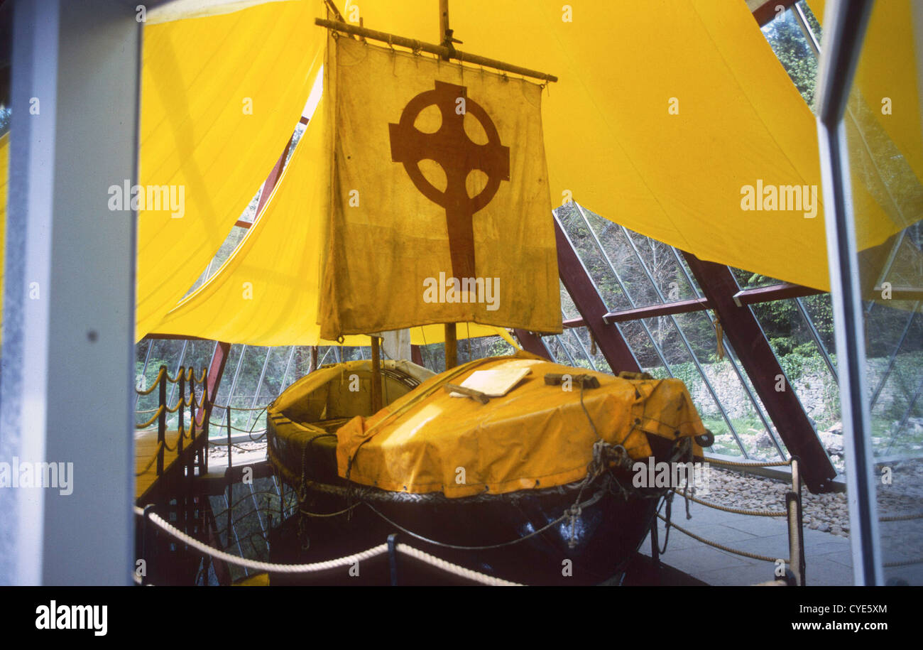 The St Brendan Voyage- Tim Severin - Actual boat - Stock Image