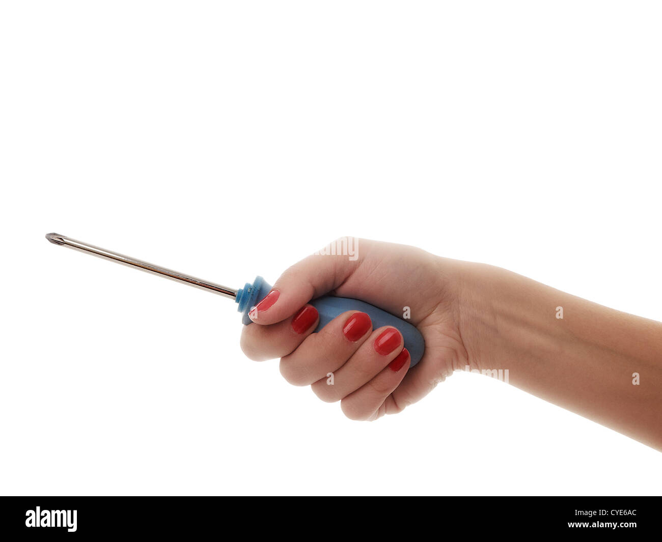 woman hand working with screwdriver Stock Photo