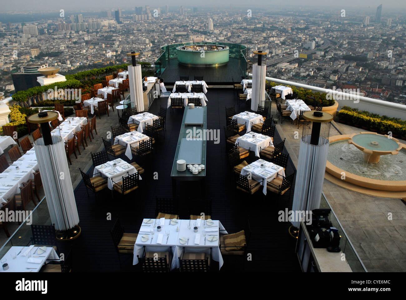 View, Panoramic, Nightlife, Restaurant, Sirocco, Bangkok, Sky Bar, Sight, Thailand, Asia - Stock Image