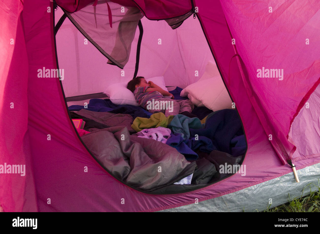check out bf1ee aba93 2 year old children sleeping alone in a camping tent Stock ...