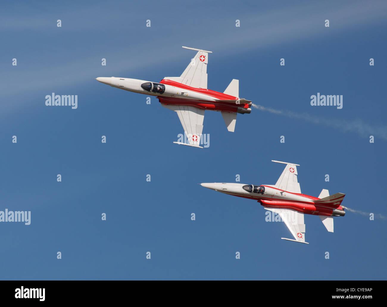 Northrop F-5E Tiger II fighters of the Patrouille Suisse aerobatic team. - Stock Image
