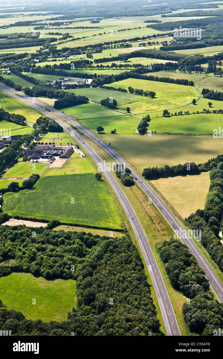 The Netherlands, Beilen, A28 highway. Aerial. - Stock Image