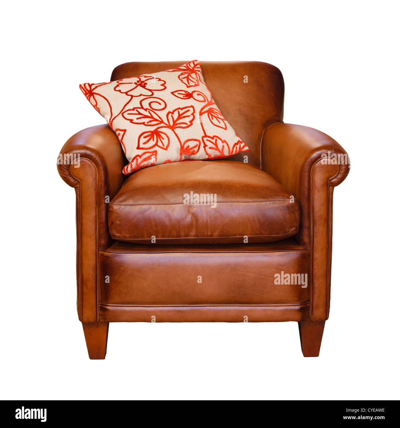 Leather armchair with trendy cushion on a white background with clipping path - Stock Image