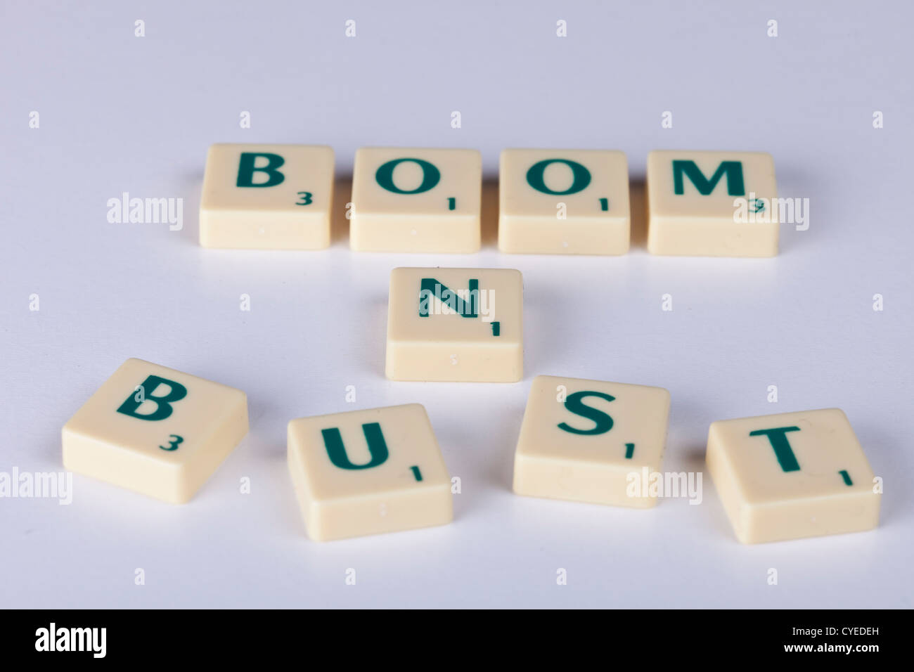 'boom n bust' boom and bust, symbolic symbolizes economic peaks and troughs which ebb and flow repeatedly,world - Stock Image