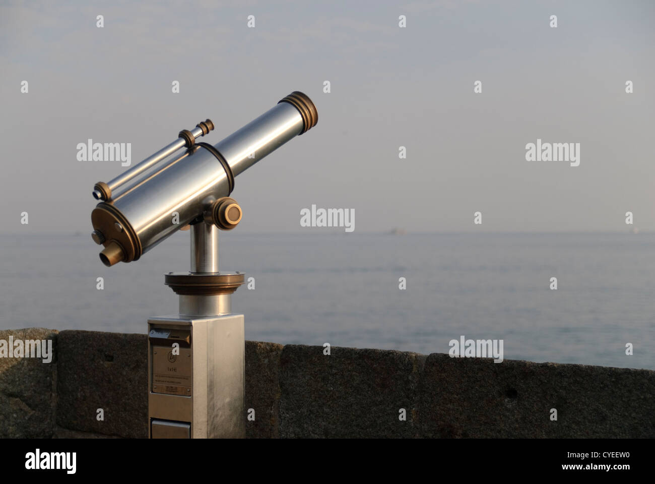 Public pay as you go telescope at a tourist attraction in france